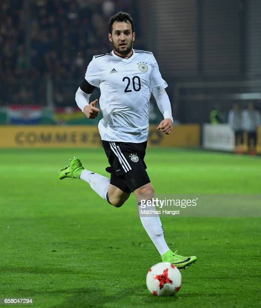 Levin Oeztunali of Germny controls the ball during the U21 International Friendly match between U21 Germany and U21 England at BRITAArena on March 24...