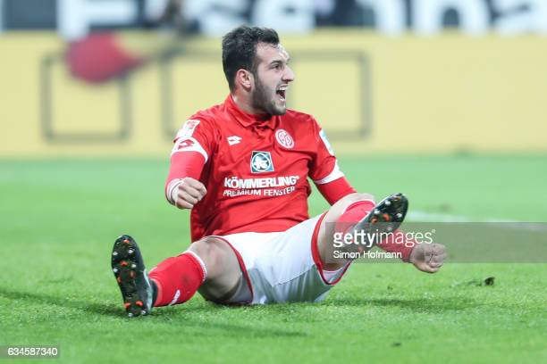 Levin Oeztunali of Mainz celebrates his team's first goal during the Bundesliga match between 1 FSV Mainz 05 and FC Augsburg at Opel Arena on...