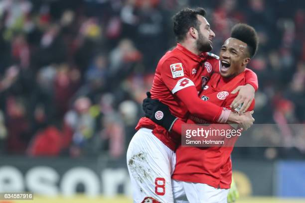 Levin Oeztunali of Mainz celebrates his team's first goal with team mate JeanPhilippe Gbamin during the Bundesliga match between 1 FSV Mainz 05 and...