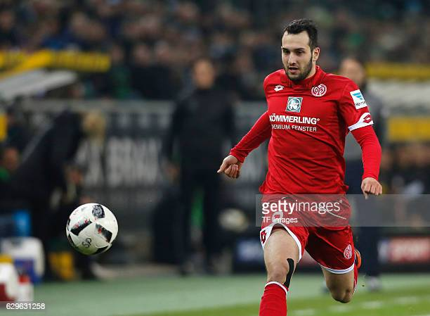 Levin Oeztunali of Mainz in action during the Bundesliga match between Borussia Moenchengladbach and 1FSV Mainz 05 at BorussiaPark on December 11...