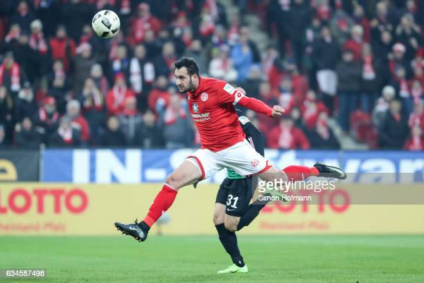 Levin Oeztunali of Mainz scores his team's first goal during the Bundesliga match between 1 FSV Mainz 05 and FC Augsburg at Opel Arena on February 10...