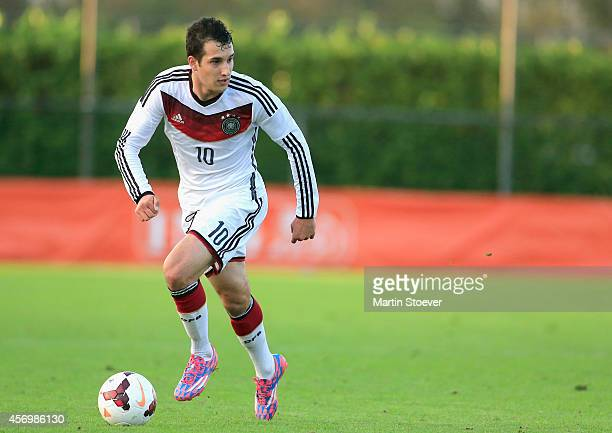 Levin Oeztunali of U20 Germany plays the ball during the match between U20 Germany v U20 England at Sportpark Skoatterwald on October 9 2014 in...