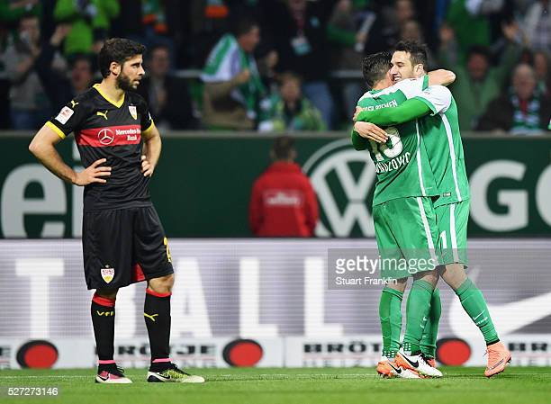 Levin Oeztunali of Werder Bremen celebrates with Zlatko Junuzovic as he scores their third goal during the Bundesliga match between Werder Bremen and...