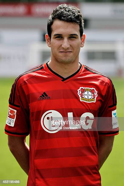 Levin Oeztunali poses during Bayer Leverkusen team presentation at BayArena on August 4 2014 in Leverkusen Germany