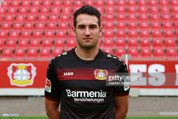 Levin Oeztunali poses during the official team presentation of Bayer Leverkusen at BayArena on July 25 2016 in Leverkusen Germany