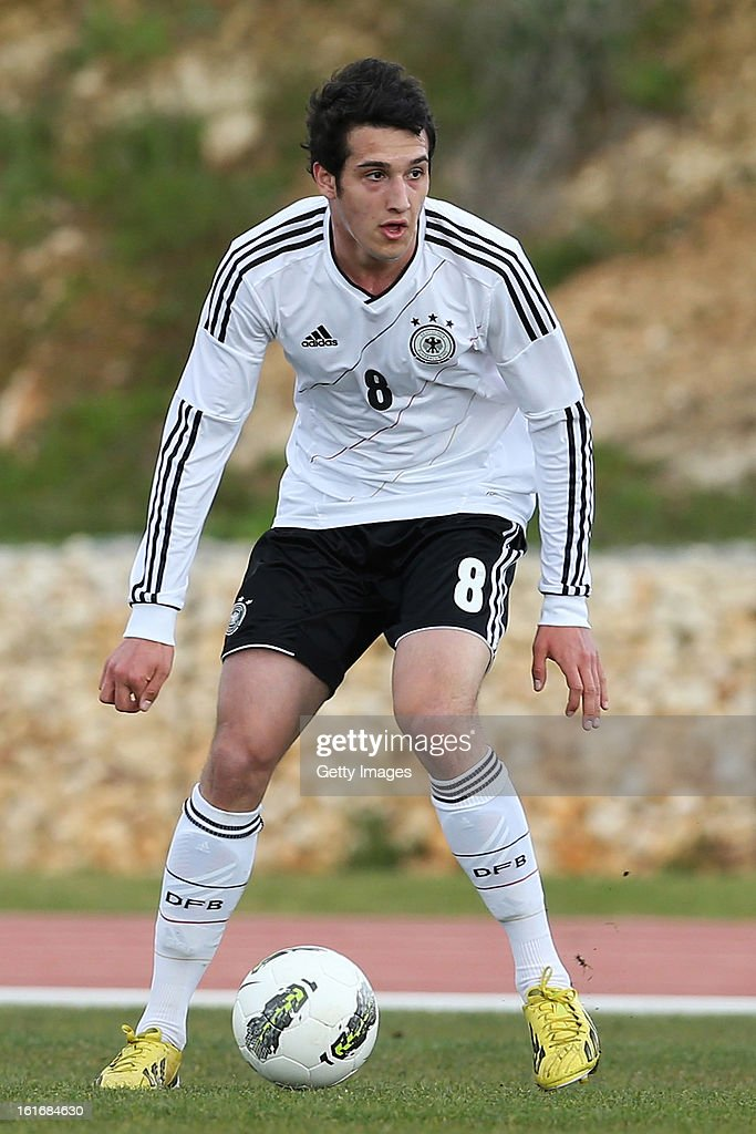 Levin Oztunali of Germany in action during the Under17 Algarve Youth Cup match between U17 Portugal and U17 Germany at the Stadium Bela Vista on February 12, 2013 in Parchal, Portugal.