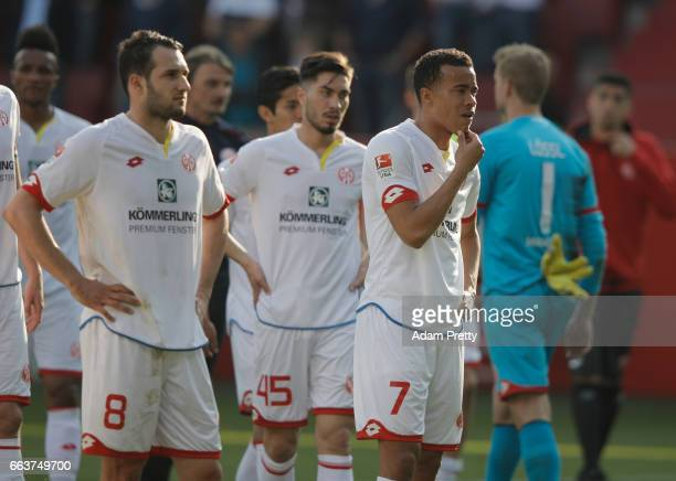 Levin Öztunali and Robin Quaison of Mainz look dejected at the end of the Bundesliga match between FC Ingolstadt 04 and 1 FSV Mainz 05 at Audi...