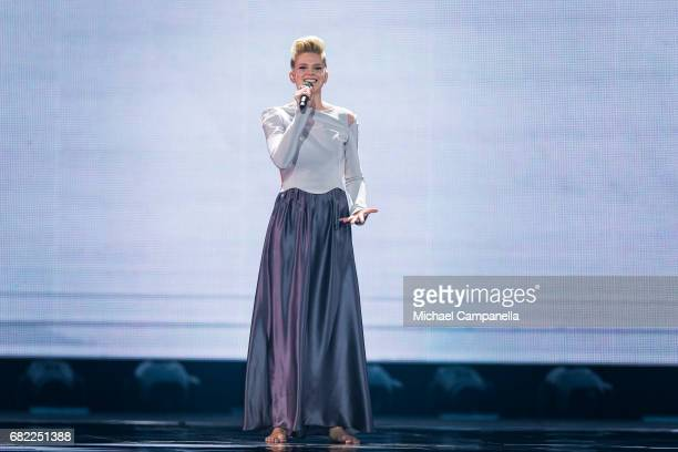 Levina representing Germany perform the song 'Perfect Life' during the rehearsal for the second semi final of the 62nd Eurovision Song Contest at...