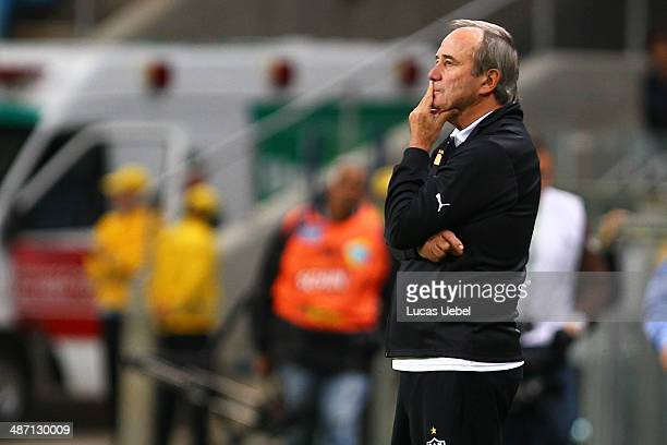 Levir Culpi coach of AtleticoMG during the match Gremio v Atletico MG as part of Brasileirao Series A 2014 at Arena do Gremio on April 27 2014 in...