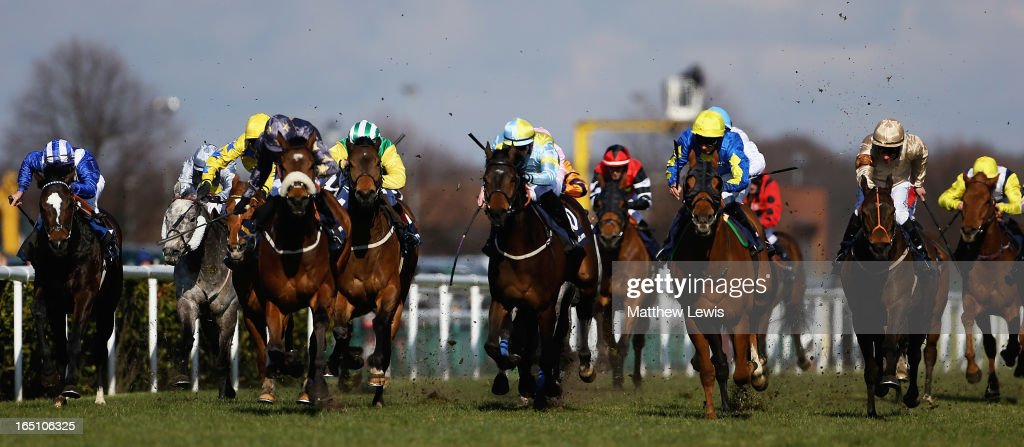 Levitate (3rd from R)) ridden by Darren Egan goes on to win the William Hill Lincoln (Heritage Handicap) (Class2) race at Doncaster Racecourse on March 30, 2013 in Doncaster, England.