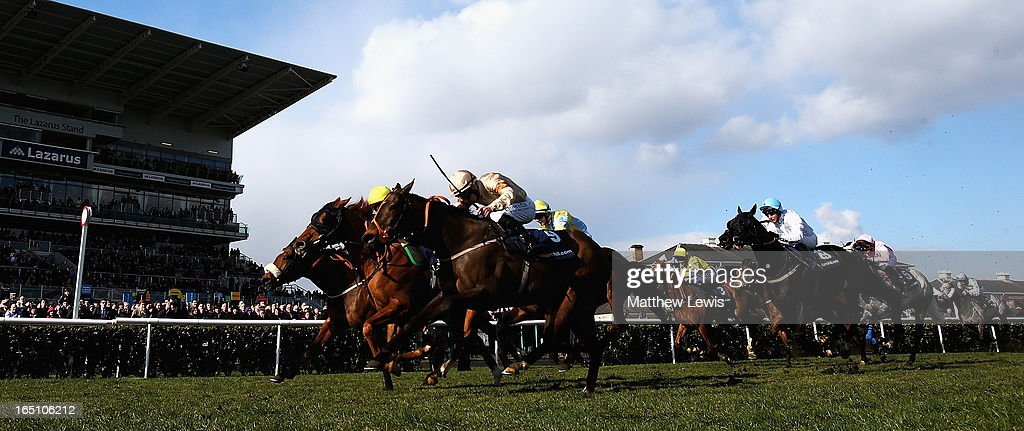 Levitate (C) ridden by Darren Egan holds off Global Village (no.9) ridden by Martin Lane to win the William Hill Lincoln (Heritage Handicap) (Class2) race at Doncaster Racecourse on March 30, 2013 in Doncaster, England.