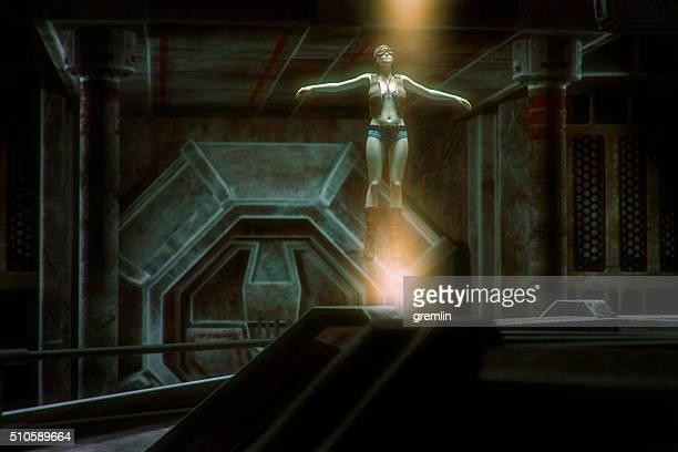 宇宙船の宙に浮かぶエイリアン
