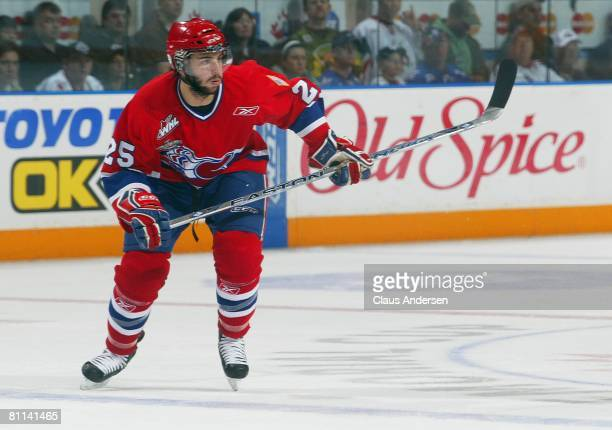 Levko Koper of the Spokane Chiefs skates against the Belleville Bulls in the second game of the Memorial Cup Championship on May 17 2008 at the...