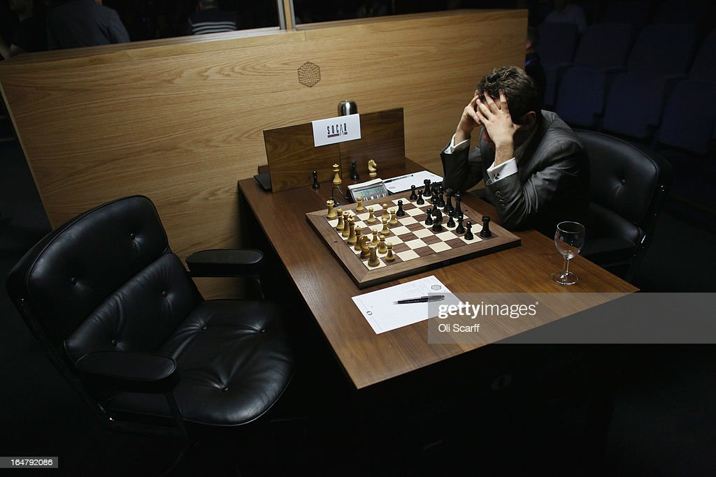 Levon Aronian, a chess grandmaster, third in world rankings, plays in the Candidates Tournament at the IET on Savoy Place on March 28, 2013 in London, England. The Candidates Tournament features eight of the world's top chess players and will determine which player will challenge Viswanathan Anand for the title of World Champion in November 2013. The tournament will be the strongest of its kind in history and have a total prize fund of 510,000 Euros.