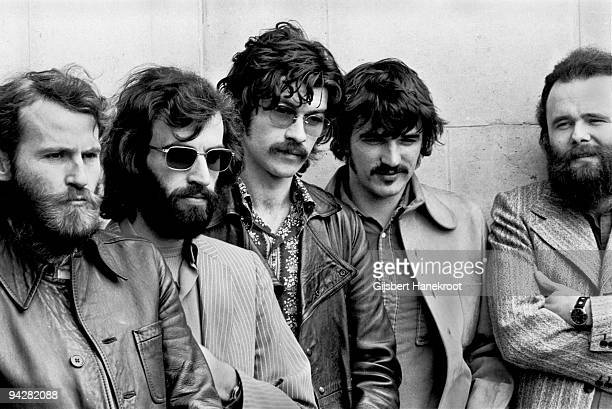 Levon Helm Richard Manuel Robbie Robertson Rick Danko and Garth Hudson of The Band pose for a group portrait in London in June 1971