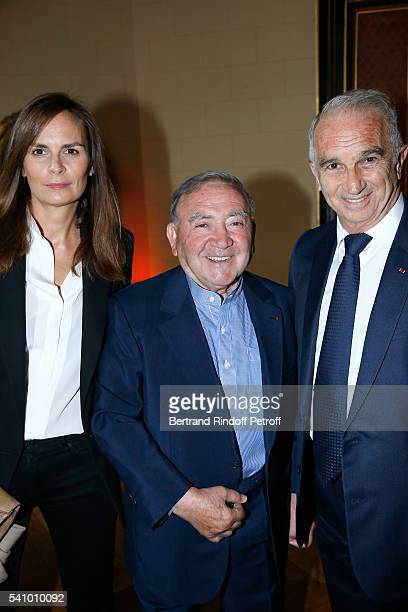 Levon Sayan standing between Brune de Marjorie and President of Cesar's Academy Alain Terzian attend Levon Sayan receives Insignia of 'Commandeur de...