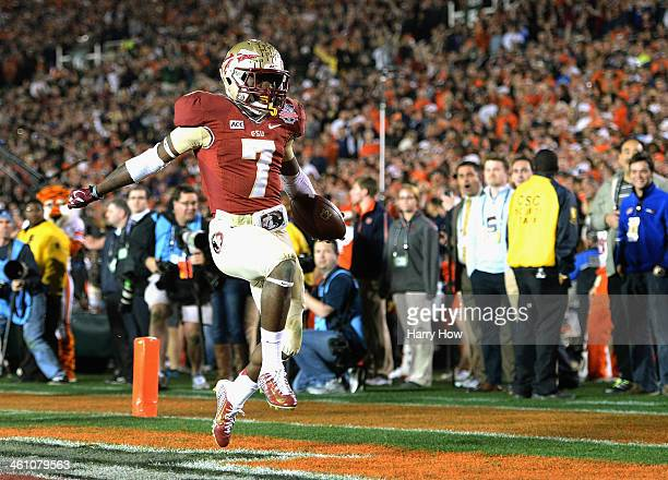 Levonte Whitfield of the Florida State Seminoles celebrates after scoring on a 100yard kickoff return against the Auburn Tigers in the fourth quarter...