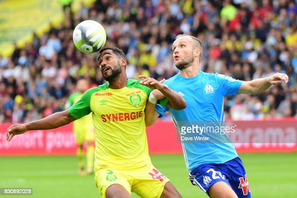 Levy Djidji of Nantes and Valere Germain of Marseille during the Ligue 1 match between FC Nantes and Olympique Marseille at Stade de la Beaujoire on...