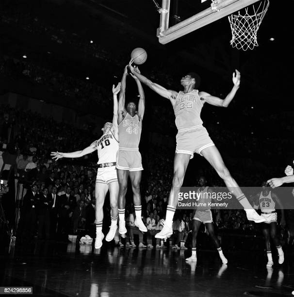 Lew Alcindor Jr jumps for a ball during a game between UCLA vs Oregon basketball game Oregon 1966