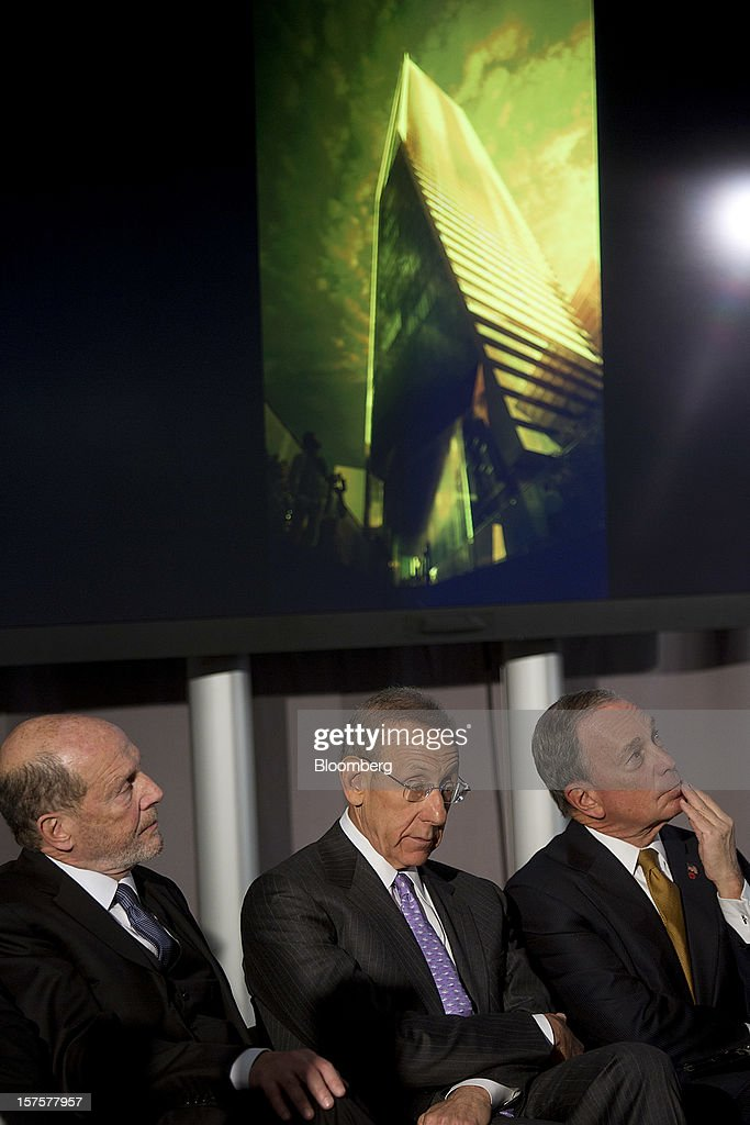 Lew Frankfort, chief executive officer of Coach Inc., from left, Stephen Ross, chairman and founder of Related Cos., and <a gi-track='captionPersonalityLinkClicked' href=/galleries/search?phrase=Michael+Bloomberg&family=editorial&specificpeople=171685 ng-click='$event.stopPropagation()'>Michael Bloomberg</a>, mayor of New York City, listen during the groundbreaking ceremony for the Hudson Yards development in New York, U.S., on Tuesday, Dec. 4, 2012. Related Cos. has tentative deals in place for two more tenants to occupy the first tower of its Hudson Yards development, Ross said today as construction began at the 26-acre site on Manhattan's west side. Photographer: Victor J. Blue/Bloomberg via Getty Images