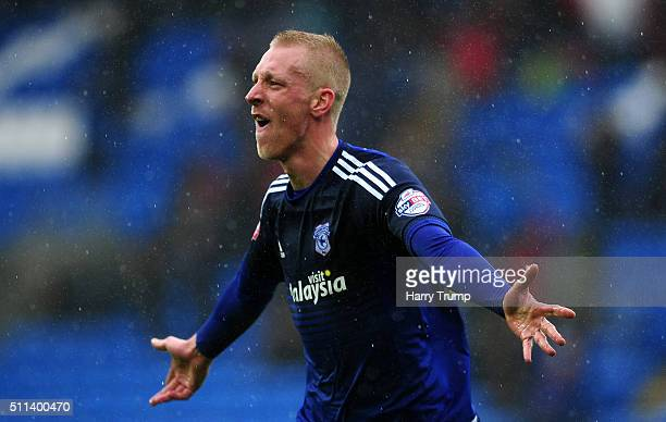Lew Immers of Cardiff City celebrates his sides third goal during the Sky Bet Championship match between Cardiff City and Brighton and Hove Albion at...
