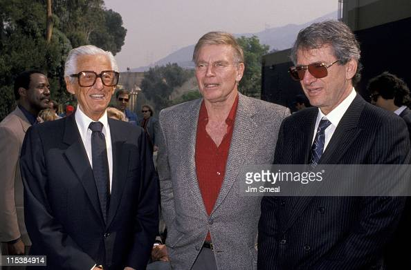 Lew Wasserman Charlton Heston and S Shineberg during Opening of Universal Studios New Ride 'Earthquake The Big One' at Universal Studios in Universal...