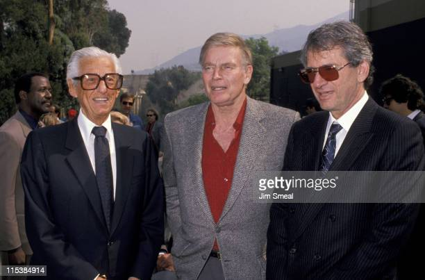 Lew Wasserman Charlton Heston and S Shineberg during Opening of Universal Studios New Ride 'Earthquake The Big One' at Universal Studios in Universal...