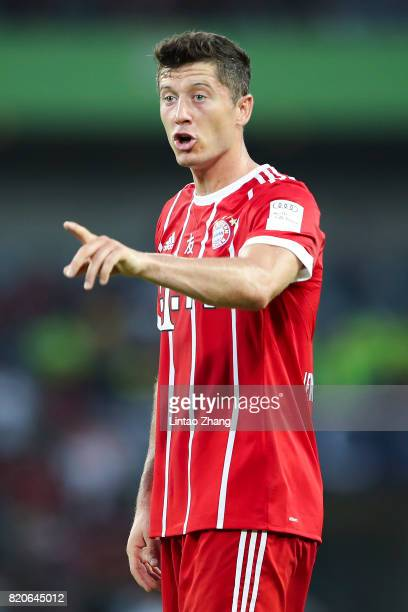 Lewandowski of Muenchen reacts during the 2017 International Champions Cup China match between FC Bayern and AC Milan at Universiade Sports Centre...