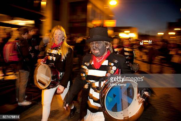 Lewes UK Monday 5th November 2012 Cliffe bonfire society members Bonfire Night celebration in the town of Lewes East Sussex UK which form the largest...