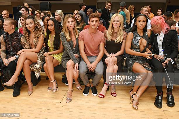 Lewi Morgan Ella Eyre LeighAnne Pinnock Abbey Clancy Tom Daley Fearne Cotton Serayah McNeill and Kyle De'volle attend the Julien Macdonald runway...
