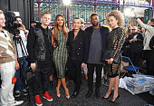 Lewi Morgan Rochelle Humes Julien MacDonald Oritse Williams and Ella Eyre attend the Julien MacDonald Spring/Summer 2016 Collection during London...