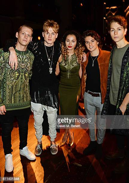 Lewi Morgan Tristan Evans Ella Eyre Bradley Simpson and James McVey attend the Julien Macdonald show during London Fashion Week Autumn/Winter 2016/17...