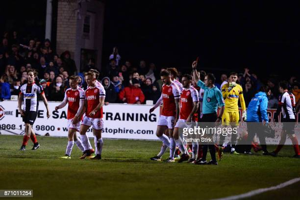 Lewie Coyle of Fleetwood Town is sent off during The Emirates FA Cup First Round match between Chorley and Fleetwood Town at Victory Park on November...