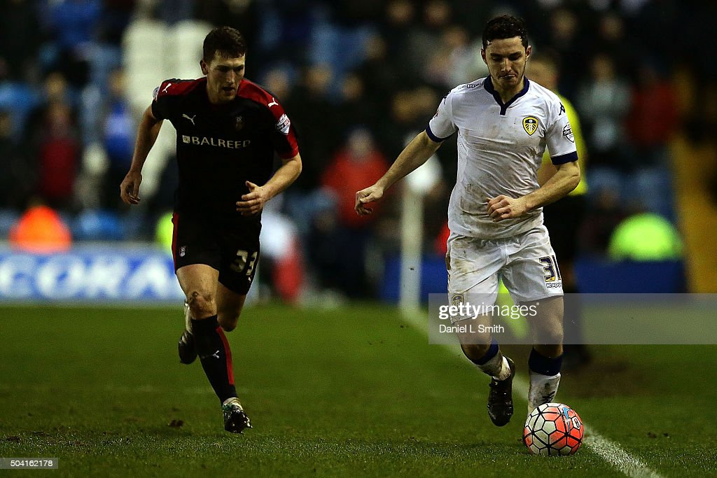 Lewie Coyle of Leeds United FC controls the ball during The Emirates FA Cup Third Round match between Leeds United and Rotherham United at Elland Road on January 9, 2016 in Leeds, England.