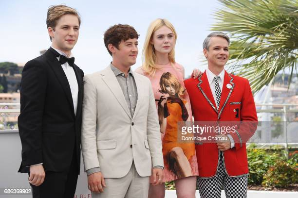 J Lewis Alex Sharp Elle Fanning and director John Cameron Mitchell attend the 'How To Talk To Girls At Parties' photocall during the 70th annual...