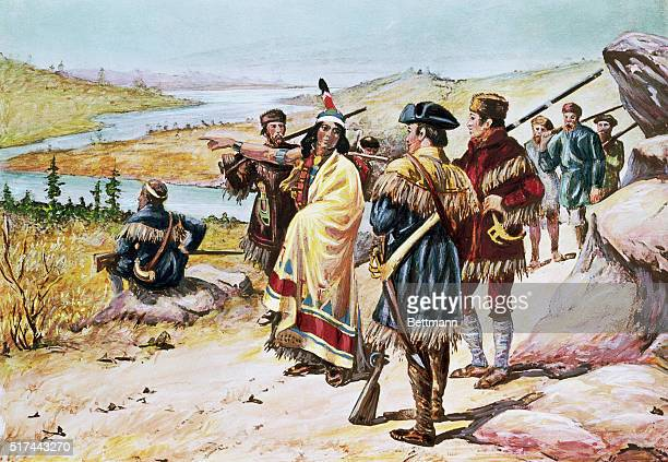 Lewis and Clark expedition Sacajawea guiding the expedition from Mandan through the Rocky Mountains Painting by Alfred Russell Color slide
