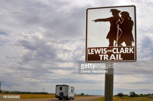 Meriwether Lewis   Harpers Ferry Park Association  Sign for the Lewis Clark Trail  Route    Northern Montana   Stock Image