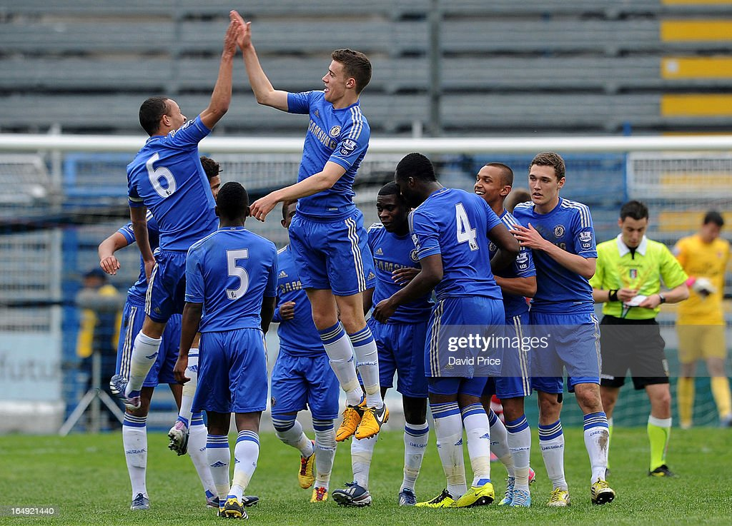 Lewis Baker (6) and Alex Davey of Chelsea celebrate the team's third goal during the NextGen Series Semi Final match between Arsenal and Chelsea at Stadio Guiseppe Sinigallia on March 29, 2013 in Como, Italy.
