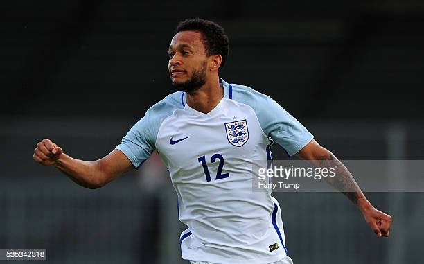 Lewis Baker of England celebrates after scoring his sides first goal during the Final of the Toulon Tournament between England and France at Parc Des...
