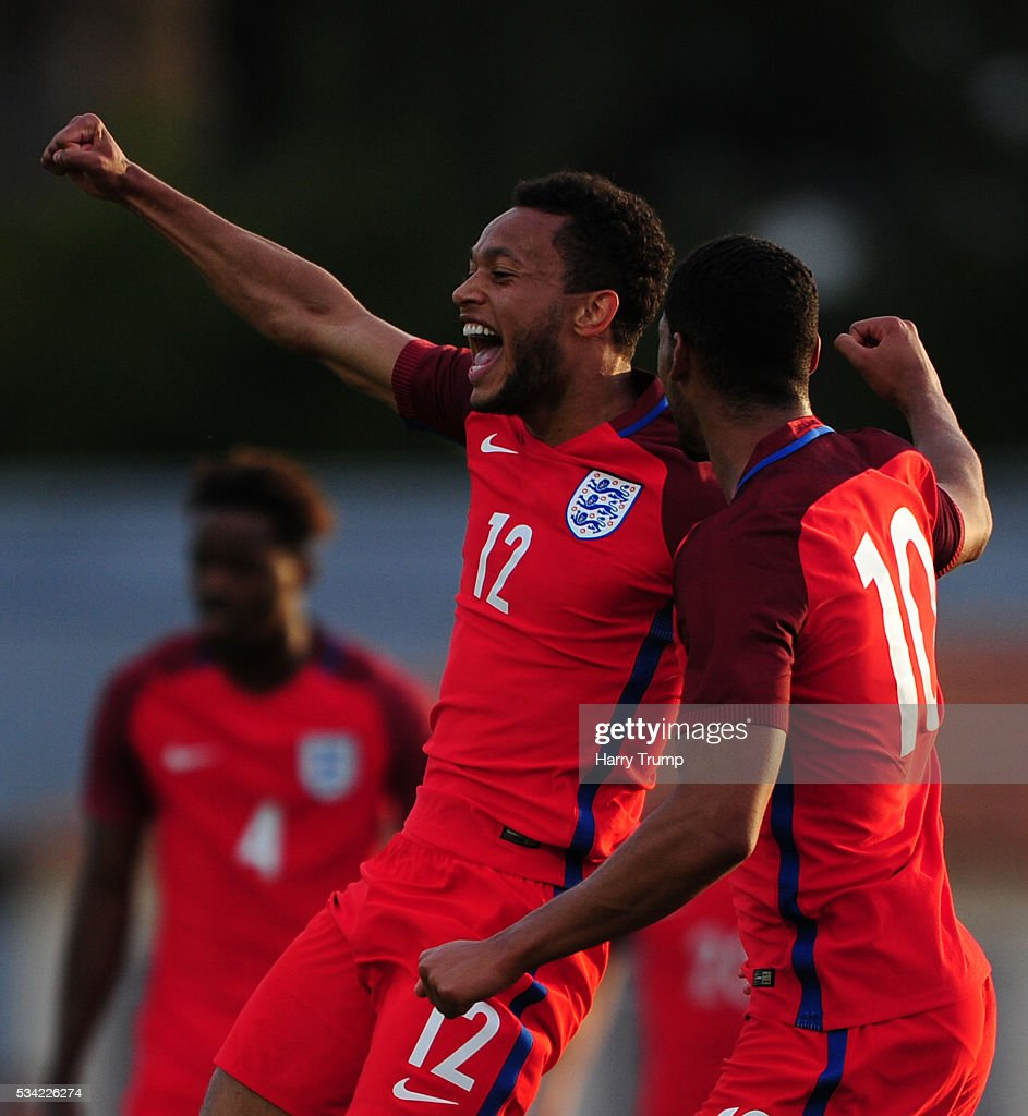 <a gi-track='captionPersonalityLinkClicked' href=/galleries/search?phrase=Lewis+Baker+-+Soccer+Player&family=editorial&specificpeople=13510099 ng-click='$event.stopPropagation()'>Lewis Baker</a> of England (L) celebrates his sides first goal during the Toulon Tournament match between Paraguay and England at Stade Antoinr Baptiste on May 25, 2016 in Six-Fours-Les-Plages, France.