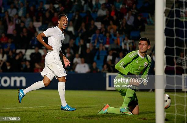 Lewis Baker of England celebrates scoring during the U20 International friendly match between England and Romania on September 5 2014 in Telford...