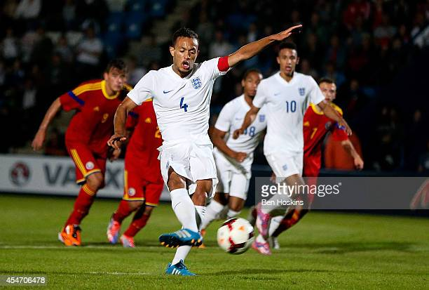 Lewis Baker of England scores from the penalty spot during the U20 International friendly match between England and Romania on September 5 2014 in...