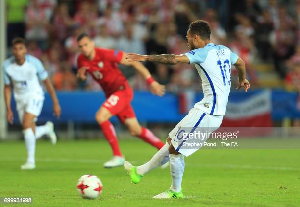 Lewis Baker of England scores his sides third goal from the penalty spot during the UEFA European Under21 Championship Group A match between England...