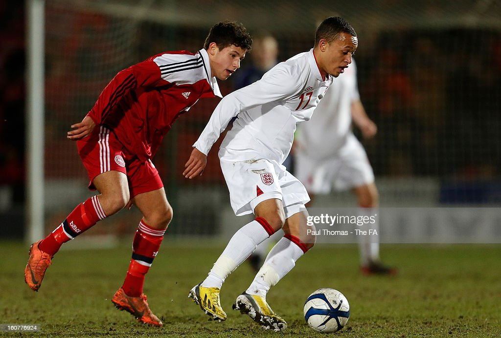 Lewis Baker (R) of England U19 in action with Emiliano Marcondes of Denmark U19 during the International U19 match between England and Scotland at the Keepmoat Stadium on February 5, 2013 in Doncaster, England.