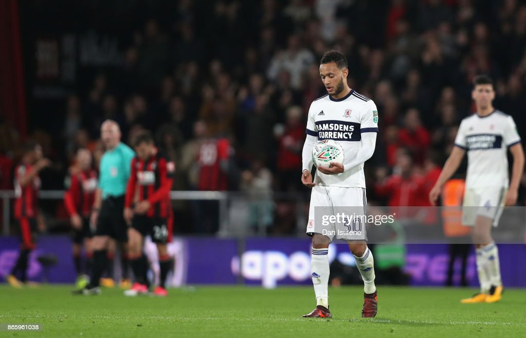 Lewis Baker of Middlesbrough looks dejected during the Carabao Cup Fourth Round match between AFC Bournemouth and Middlesbrough at Vitality Stadium on October 24, 2017 in Bournemouth, England.