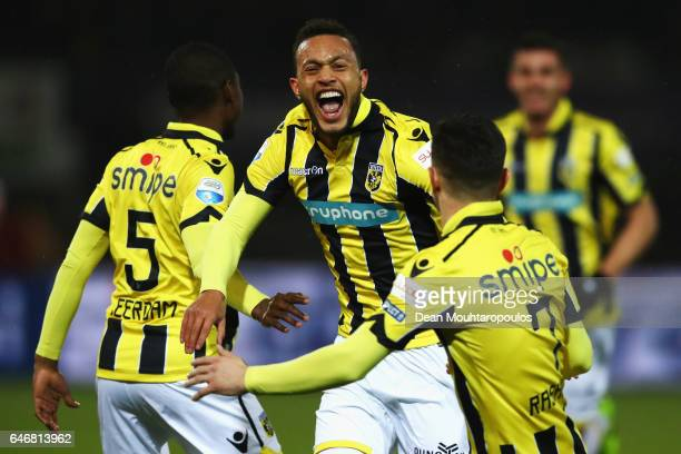 Lewis Baker of Vitesse Arnhem celebrates scoring his teams first goal of the game during the Dutch KNVB Cup Semifinal match between Sparta Rotterdam...