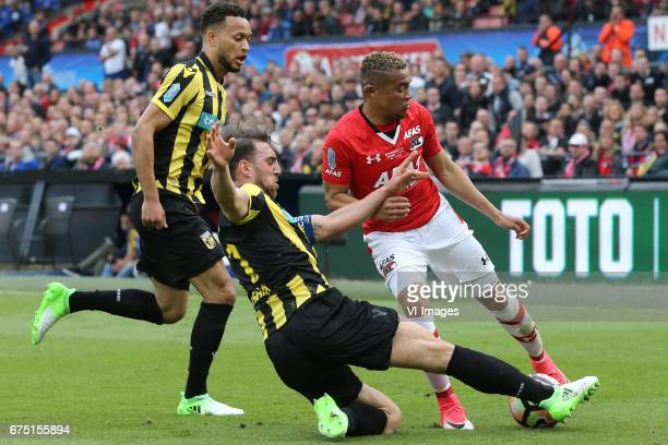 Lewis Baker of Vitesse Guram Kashia of Vitesse Dabney dos Santos of AZduring the Dutch Eredivisie match between Feyenoord Rotterdam and FC Utrecht at...