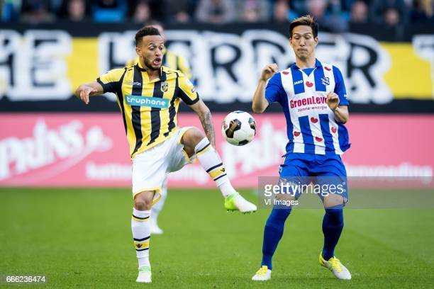 Lewis Baker of Vitesse Yuki Kobayashi of sc Heerenveenduring the Dutch Eredivisie match between Vitesse Arnhem and sc Heerenveen at Gelredome on...