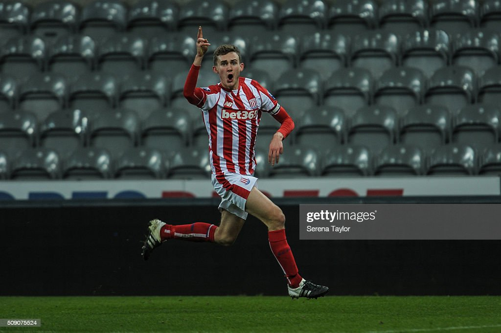 Lewis Banks of Stoke City celebrates after scoring the winning goal during the Barclays Premier League U21 match between Newcastle United and Stoke City at St.James' Park on February 8, 2016, in Newcastle upon Tyne, England.