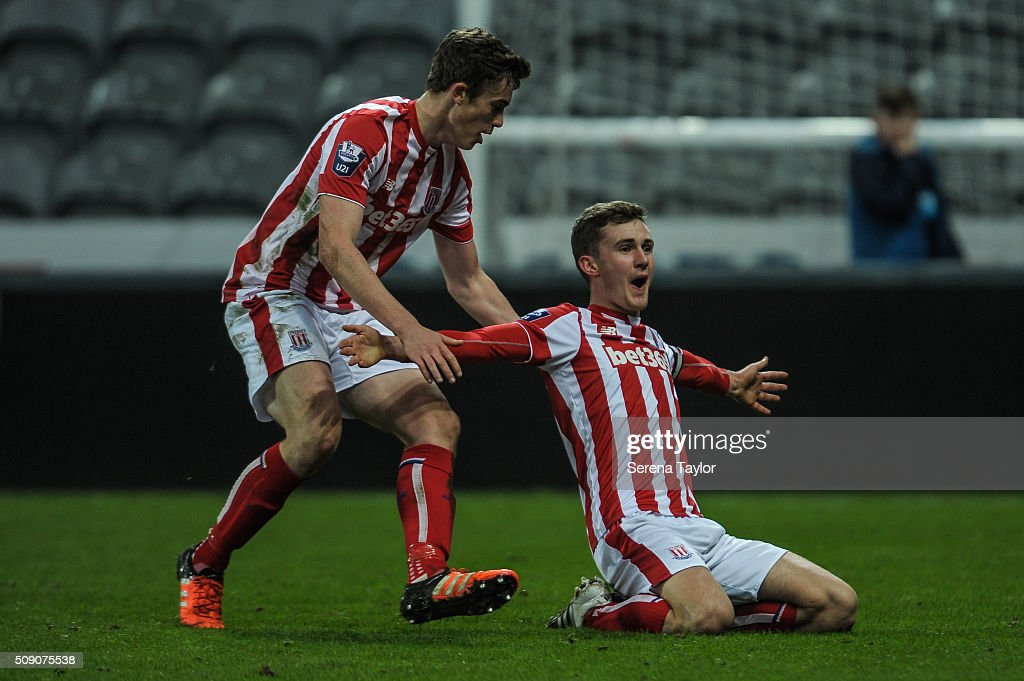 Lewis Banks (R) of Stoke City celebrates with teammate Mark Waddington (L) after scoring the winning goal during the Barclays Premier League U21 match between Newcastle United and Stoke City at St.James' Park on February 8, 2016, in Newcastle upon Tyne, England.